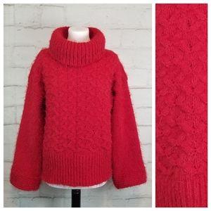 Oversized M Cowl Neck Heavy Knit Eyelash Sweater